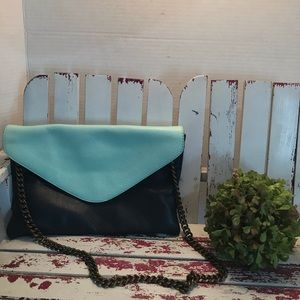 J Crew Leather Two-tone Envelope Clutch w/chain